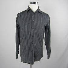Van Heusen Gray and Black Long Sleeve Stripe Shirt Size Small 14 -14 1/2