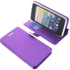 Tasche für Archos 45b Neon Book-Style Schutz Hülle Handytasche Buch Lila