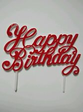 Happy Birthday Cake Topper Pick - Classic Red - Italic Letter - Brand New