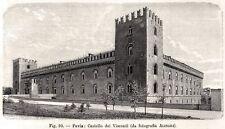 Pavia: il Castello Visconteo. Lombardia. Stampa Antica + Passepartout. 1896