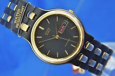 Vintage CITIZEN Retro Quarzo Bracciale Watch NOS 1980s NEW OLD STOCK pvd nero