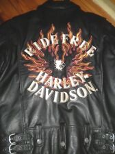 Harley Davidson Flame II Ride Free Heavy Weight Leather Jacket 98134-03VM SMALL