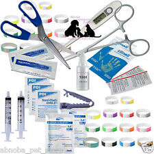 Abnoba's Mini Puppy Whelping Kit Umbilical Cord Clamp Forceps Iodine 49 + Items