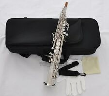 Professional Silver Nickel Eb Sopranino Saxophone Sax Low Bb High F with Case