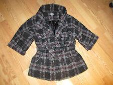 Linea Domani ladies jacket purple/pink gray black wool full coat XL FALL
