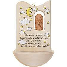 Weihwasserkessel Holz mit Tonengel u.Spruch Weihwasserbecken Taufe Geburt