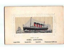 ST2141: R M S LUSITANIA (Vintage Stevengraph woven in silk postcard)