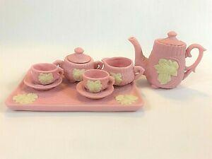 Ceramic Pink White Matte Finish Child's Play Tea Set Wedgwood-Jasperware-Style