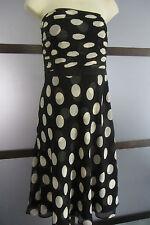 Ann Taylor Dress Black White SILK Polka Dot Retro Vintage Pin Up Strapless 8