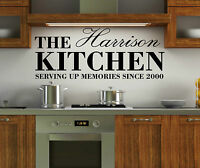 Personalised Family Name Kitchen Wall Art Quote Sticker Decal Vinyl Dining Room