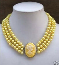 3Row Yellow Pearl Necklace Cameo Beauty Clasp