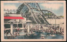 CONEY ISLAND NY Salt Water Pool Roller Coaster Vtg PC