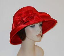 New Woman Church Derby Wedding  Vintage satin Red Dress Hat 2499