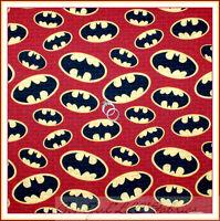 BonEful Fabric FQ Cotton Quilt BATMAN Red Brick Black Marvel DC Comic Super Hero