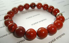 FENG SHUI - 12MM RED JASPER MALA BRACELET WITH 925 SILVER BEAD