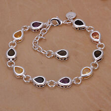 Women 925 Sterling Silver Plated Crystal Chain Colorful Bracelets Bangle Jewelry