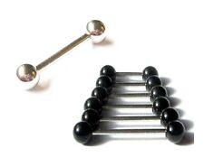 1.6mm Body Piercing Tongue Nipple barbell Bar STEEL or  BLACK Acrylic Balls
