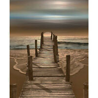 """16x20"""" DIY Paint By Number On Canvas Oil Painting Kit Beach Scenery Home Decor"""