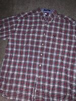Tommy Hilfiger Red Plaid Short Sleeve Cotton Button Down Shirt Men's XL EUC