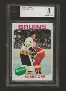 1975 Topps #100 Bobby Orr BECKETT BGS BVG 8 NM-MINT CARD OF HALL OF FAMER