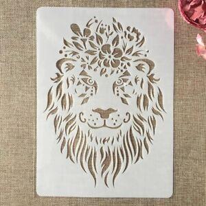A4 Large Lion Lions Wild Animal Cat Cats Plastic Stencil Reusable Mylar