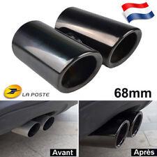 2x 68m Noir Embout Tuyau Pot D'échappement Sortie Voiture pour VW Golf Scirocco
