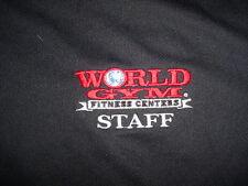World Gym Fitness Center Polyester Staff-Black-Shirt-L
