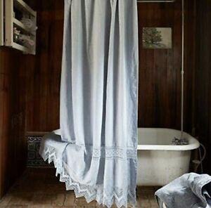 "Rachel Ashwell Couture Cluny Lace Indigo Blue Shower Curtain 74""x72"" Linen NEW"