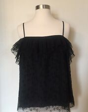 NWT J CREW FIUTTERY LACE CAMI TOP IN BLACK SZ M G8413