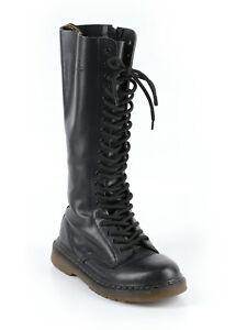 Women Dr. Martens Black 20 Eye Lace Side Zip Tall Combat Boots Size 38