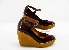CASTAMER Women Red Patent Leather Mary Jane Wedge Heel Pumps Shoe 38  7.5M YG