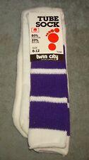 Vtg 70s 80s Twin City Tube Socks Mens Size 8 -12 White Purple Stripes New 1 Pair