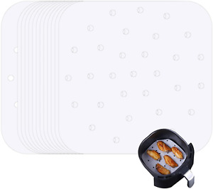 8.5 Inch Air Fryer Liners, 100 Pcs Square Perforated Parchment Paper Non-Stick