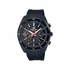 Casio Edifice Retrograde Chronograph All Black Men's PVD Rubber Strap Watch