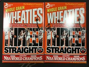 Lot of 2 Chicago Bulls Wheaties Box 3 Straight NBA Championships Michael Jordan
