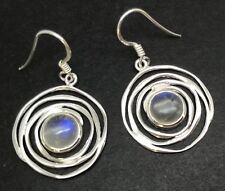rainbow moonstone swirl round drop earrings, solid Sterling Silver, New. Defect.