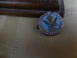 "Antique enamel brass  pin  for ""Gioventu'-Femminile Cattolica-Italiana) U.F.C.I"