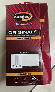 Duofold Champion Originals Wool-Blend Thermal Pants Youth Large - White OPEN BOX