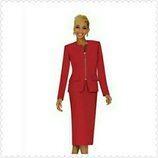 NWT Women's Ben Marc Executive 11271 Red Skirt Suit with Zipper Size 8