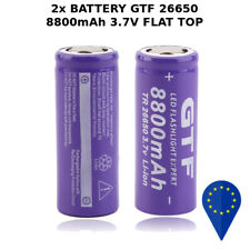2x BATTERY GTF TR 26650 8800mAh 20A BATTERIA FLAT TOP LITHIUM RECHARGEABLE