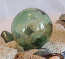 Vtg Japanese Glass Fishing Float. Olive Green, Bubbles & Surface Spindle (#31)