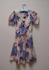 Vintage 1930s/40s Floral Cotton Lawn Day Dress Girl's Size L/Ladies Size XS