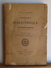 Catalogue de la Bibliotheque de M. Ricardo Heredia Part 1 1891 Antiquarian Books