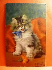 Postcard Long Haired Cat with a Blue Ribbon Bow Artist Signed D Merlin