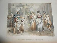 1855 ROUARGUE INCISIONE FIRENZE VENDITORE SORBETTI GELATAIO COLORATA A MANO