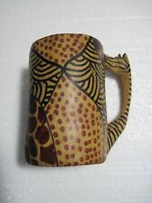 "Vintage hand carved wooden giraffe mug cup, 4 1/2"" high"