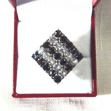 6.10ct Natural Black Sapphire & White Topaz 925 Sterling Cocktail Ring