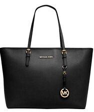 New Michael Kors Jet Set Travel Top Zip Saffiano Leather Tote black Gold Logo MK