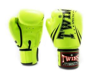 Twins TW6 Boxing Gloves Lime Green Kickboxing Muay Thai Sparring Training