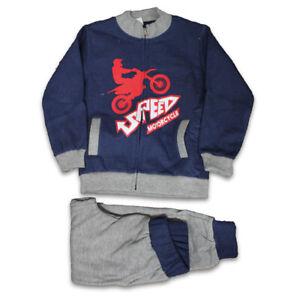 Tuta Sport Baby Bambino Blu Cerniera Pantalone Lungo Felpata